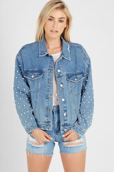 80s Beaded Denim Jacket, BLUE BEADED
