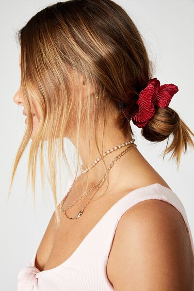 Plush Scrunchie, PLEATED DEEP CANDY RED