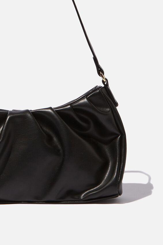 Priya Pleated Shoulder Bag, BLACK