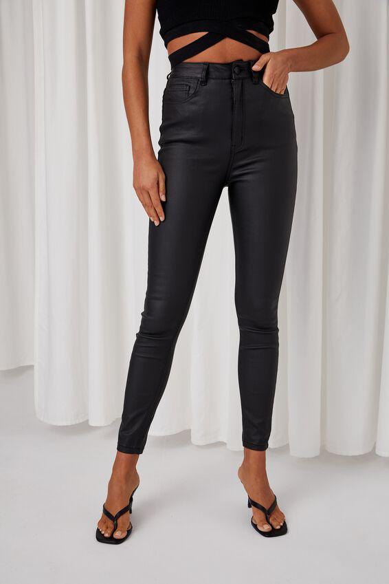 Super Skinny Coated Jean, BLACK COATED