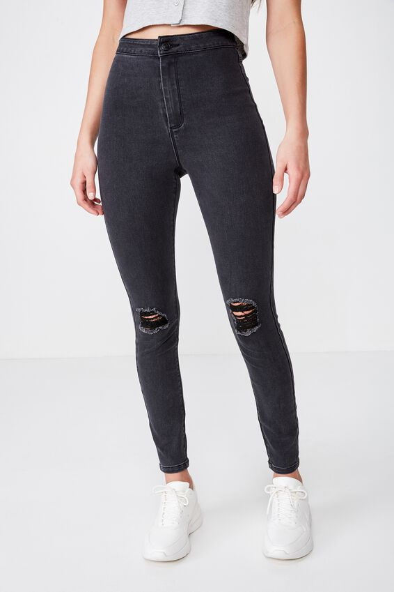 Super Skinny Sky High Ripped Jean, DUSTY BLACK