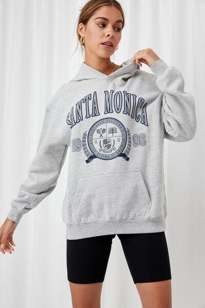 Paige Oversized Printed Hoodie, GREY MARLE/SANTA MONICA