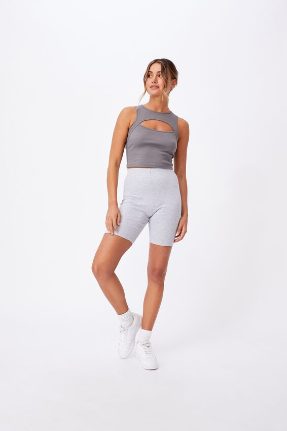 Emmy Rib Bike Short, GREY MARLE