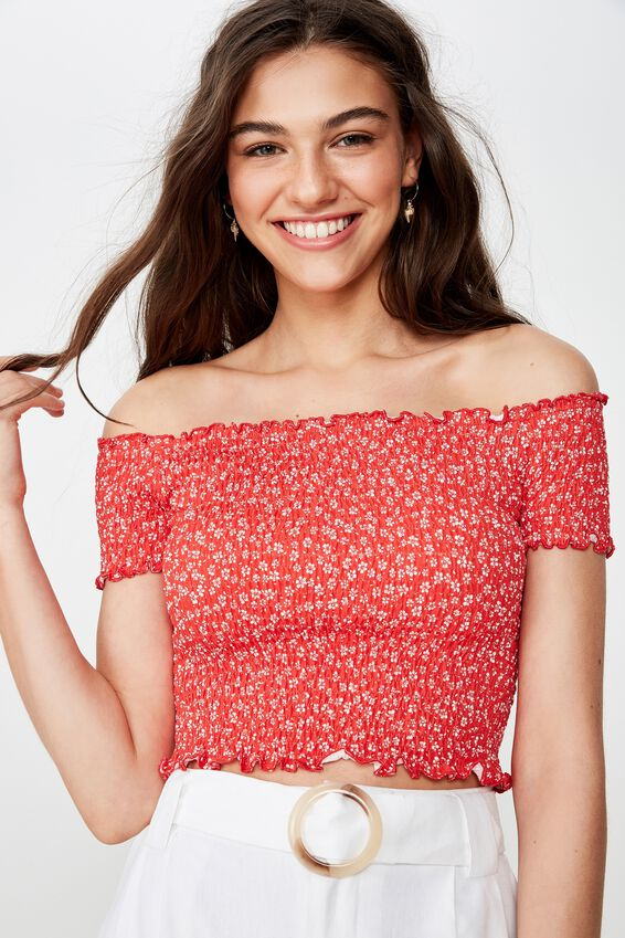 Kirsty Shirred Off The Shoulder Top, WENDY DITSY RED