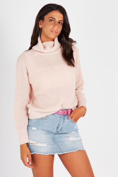 Mili Mid Length Roll Neck Knit Sweater, BLUSH