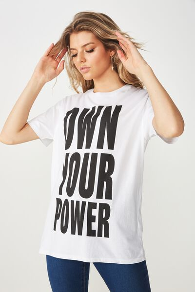 Lola Printed Longline Tee, WHITE/YOUR POWER