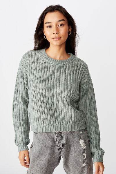Lennon Crew Knit Sweater, DEEP SAGE