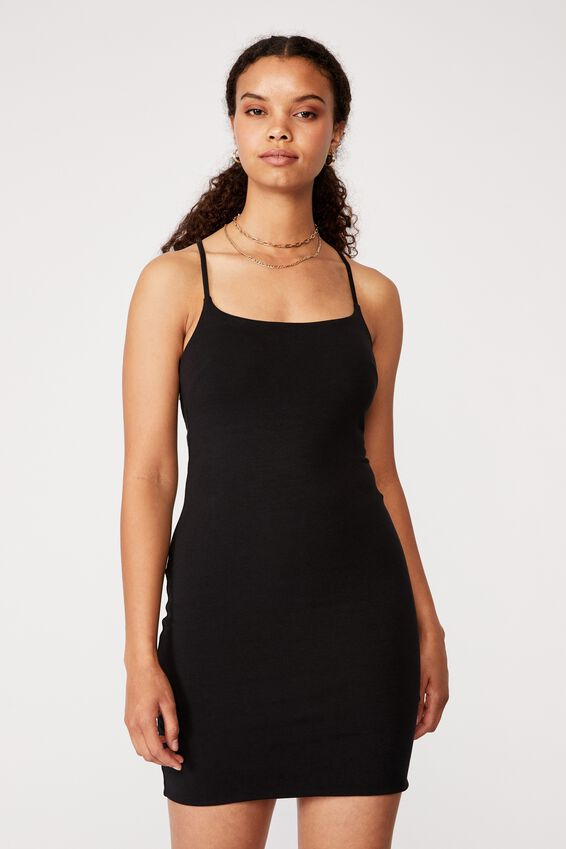 Jordyn Tie Back Strappy Dress, BLACK