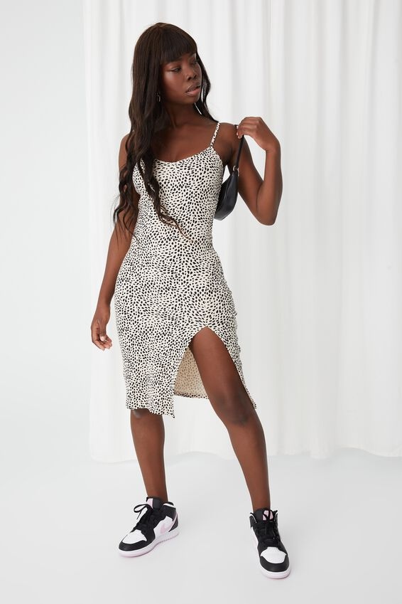 Gemma Split Midi Dress, XENA BIEGE BUFF