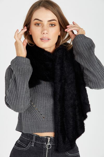Super Fluffy Knit Scarf, BLACK