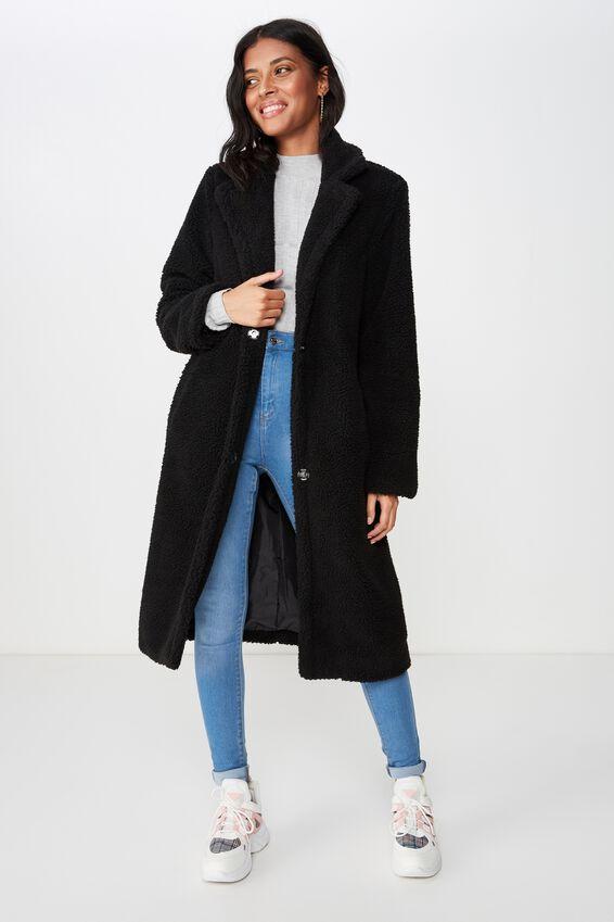 Tayla Longline Sherpa Jacket, BLACK