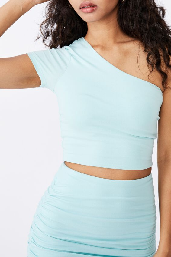 Kinsley Short Sleeve One Shoulder Top, REEF BLUE