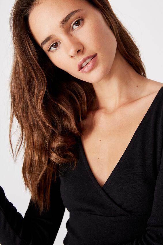 Jenny Wrap Long Sleeve Top, BLACK