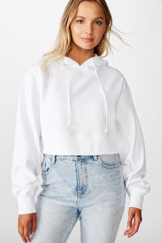 Gracie Hooded Crop Sweat, WHITE