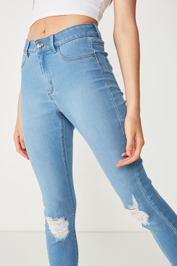 Short Super Skinny Ripped Jean, WAVE BLUE