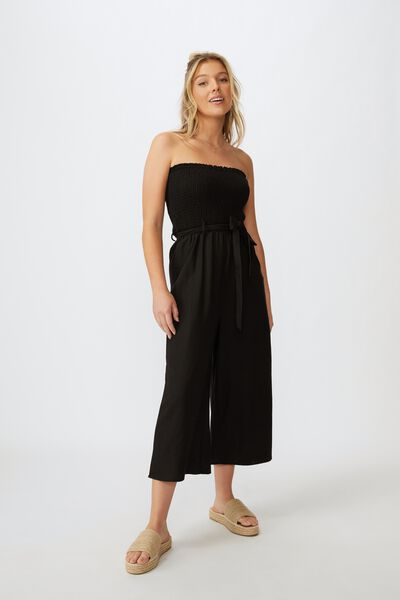 Lucy Shirred Strapless Jumpsuit, BLACK