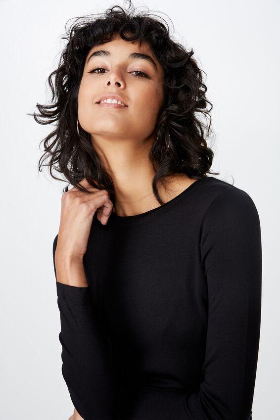 Jayla Long Sleeve Crew Neck Top, BLACK