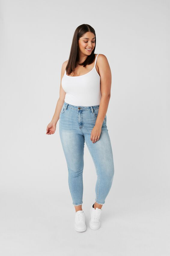Short Leg Skinny Premium High Rise Jean, PACIFIC BLUE