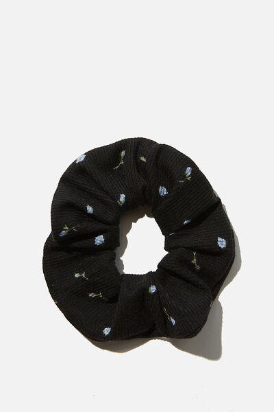Small Ditsy Scrunchie, BLACK