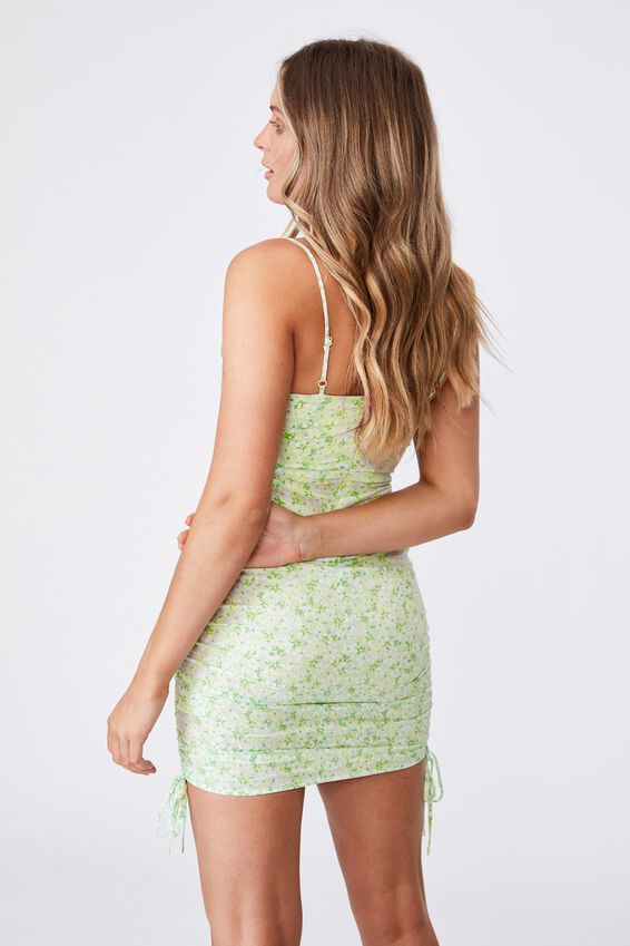 Ashley Ruched Dress, HANNAH FLORAL PINE LIME