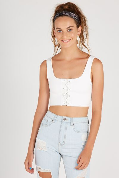 Lace Up Crop Top, WHITE