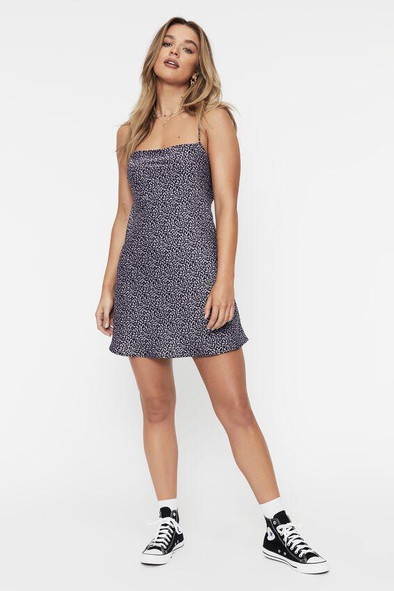 Tessa Tie Back Mini Dress, CHARLIE BLACK LILAC