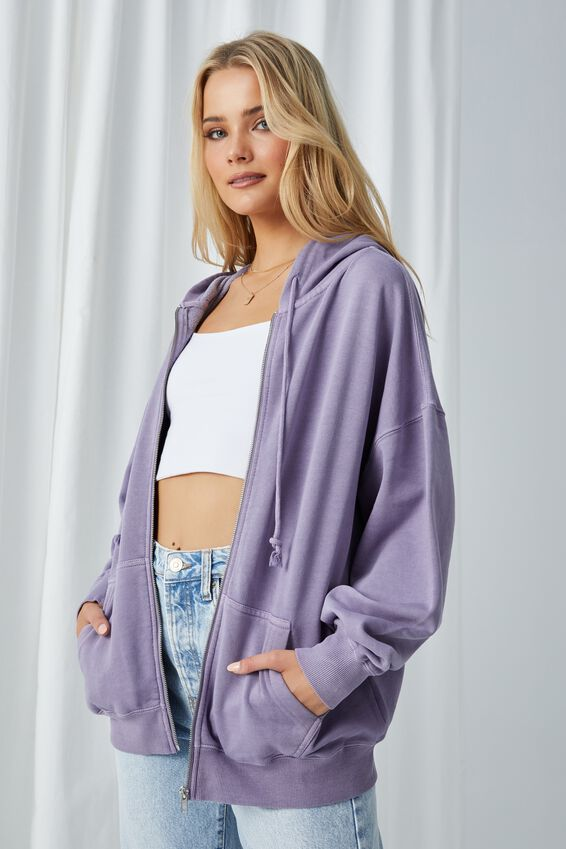 Zola Oversized Zip Through Hoodie, WASHED CLOUDY LILAC
