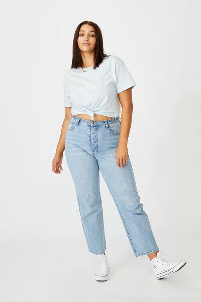 Lola Printed Longline T Shirt, AIR BLUE/SANTA MONICA