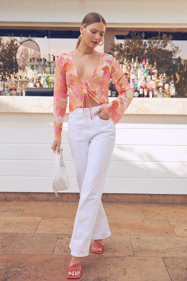 Savannah Tie Front Long Sleeve Shirt, VIOLA TEXTURE ORANGE