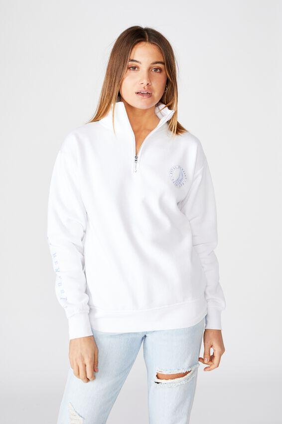 Oversized Quarter Zip Sweat, WHITE/ROYAL NEWPORT YACHT CLUB