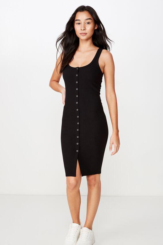 Linda Snap Button Midi Dress, BLACK
