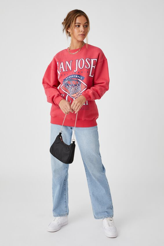 Tonya Oversized Crew Jumper, RETRO RED/SAN JOSE BASKETBALL