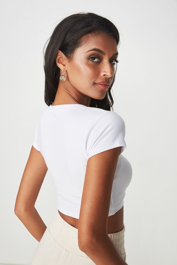Fitted Scoop Neck Tee, WHITE