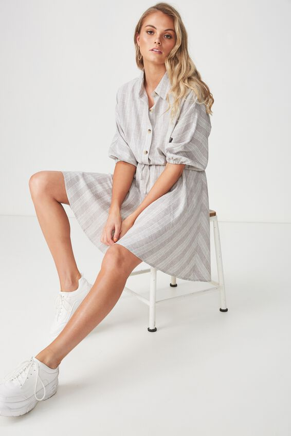 Indie Shirt Dress, KHAKI STRIPE
