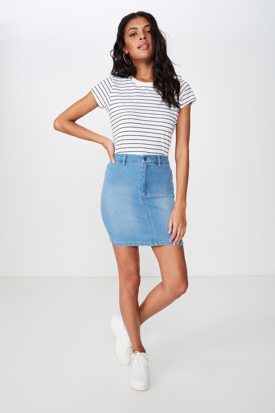 Chloe Stretch Denim Mini Skirt, WAVE BLUE