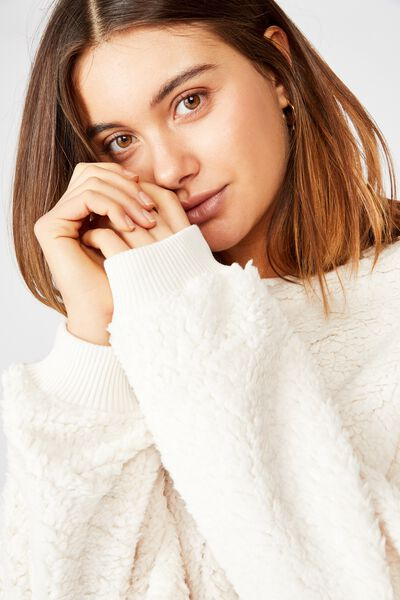 Isabella Crop Polar Fleece, OFF WHITE