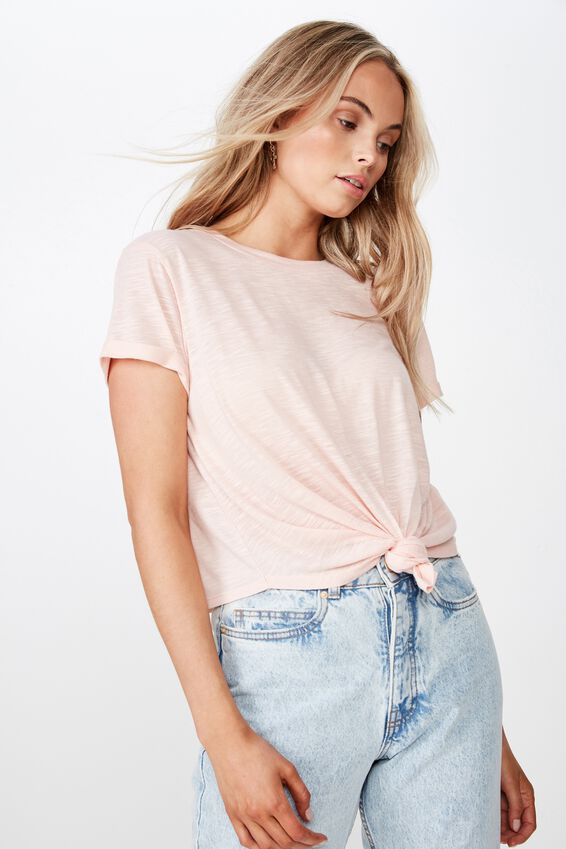 Laura Knotted Tee, DIVINE PINK
