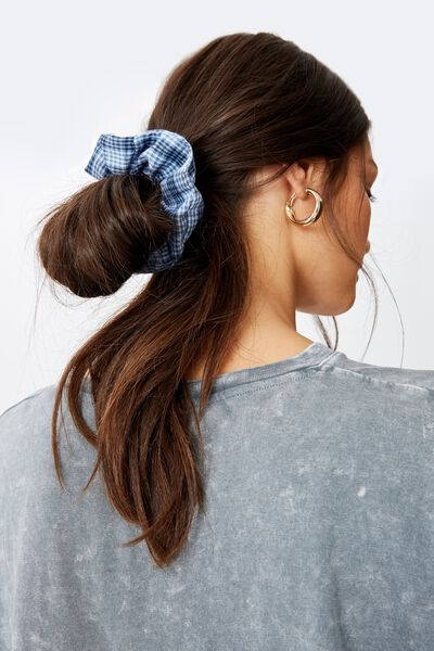 Large Check Scrunchie, BLUE MIX