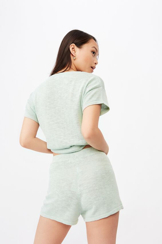 Brittany Knit Short Co Ord, MINTY GREEN