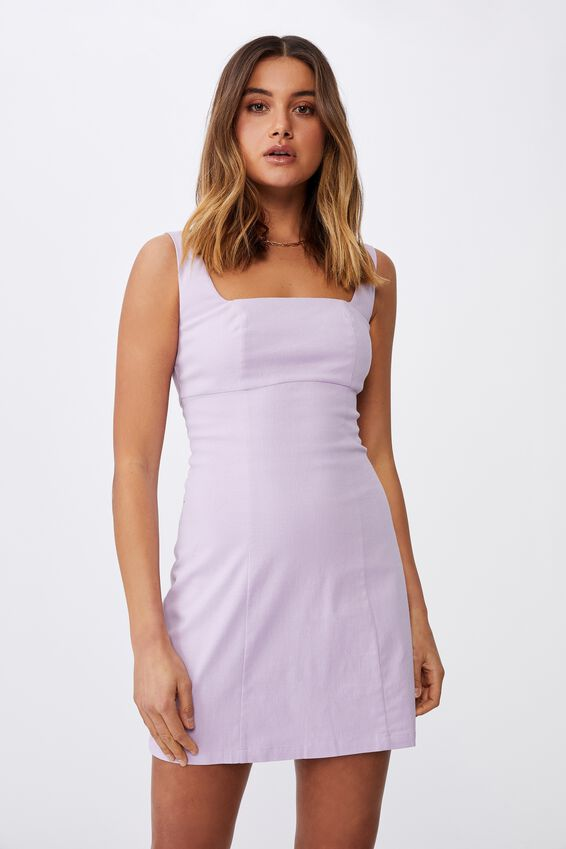 Capri Fitted Square Neck Mini Dress, ORCHID ROSE