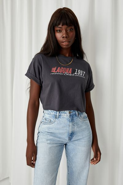Tamara Printed Crop T Shirt, GRANITE GREY/LAGUNA 1997