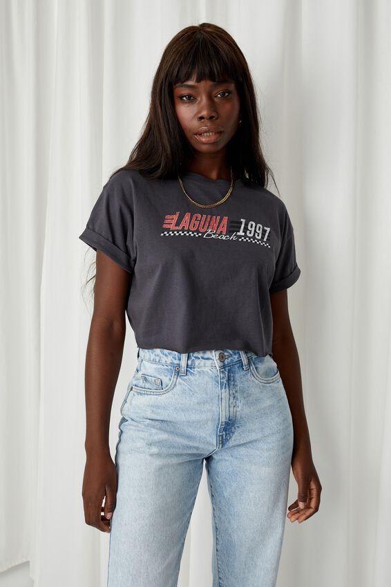 Laguna Crop T Shirt, GRANITE GREY/LAGUNA 1997