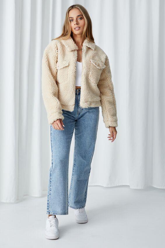 Billie Teddy Zip Through Jacket, NATURAL