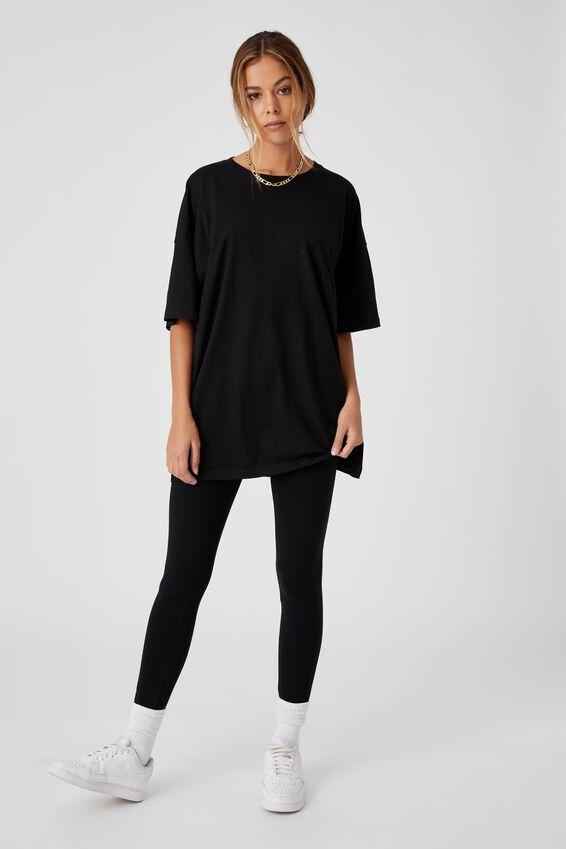 Piper Oversized T Shirt, BLACK